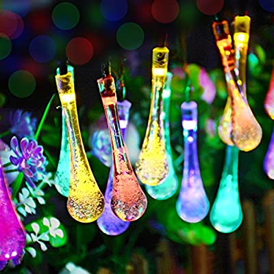 Dephen Solar Water Drop String Lights, 19.7ft 30 LED Solar Powered Outdoor Fairy Waterproof Christmas String Lights for Garden, Patio, Yard, Christmas Tree, Party, Home Decoration