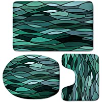 3 Piece Bath Mat Rug Set,Teal,Bathroom Non-Slip Floor Mat,Abstract-Mosaic-Waves-Ocean-Inspired-Expressionist-Pattern-Marine-Design-Image-Decorative,Pedestal Rug + Lid Toilet Cover + Bath Mat,Dark-Gree