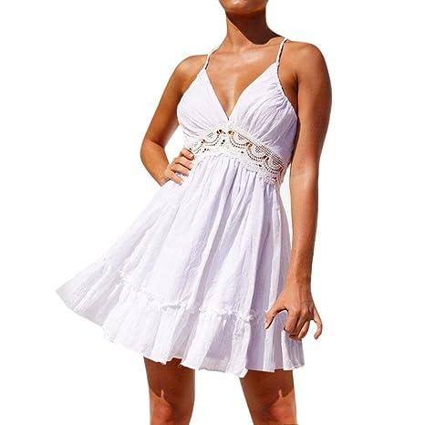 Yesmile 💋💝Vestido de Mujer Falda Vestidos Cortos de Fiesta de Noche de Encaje Sin
