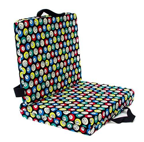 Double Folding Bingo Seat Cushion w/Cushioned Back & Handles - Bingo Ball Design
