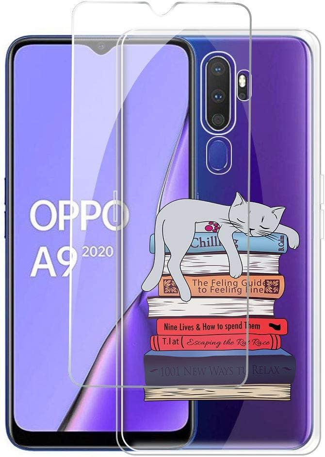 6.50 Souple Transparent Silicone /étui Protecteur Bumper Housse TPU Livre et Chat Gel Case Cover pour Oppo A9 2020 JIENI Coque pour Oppo A9 2020 Verre tremp/é Protection /écran