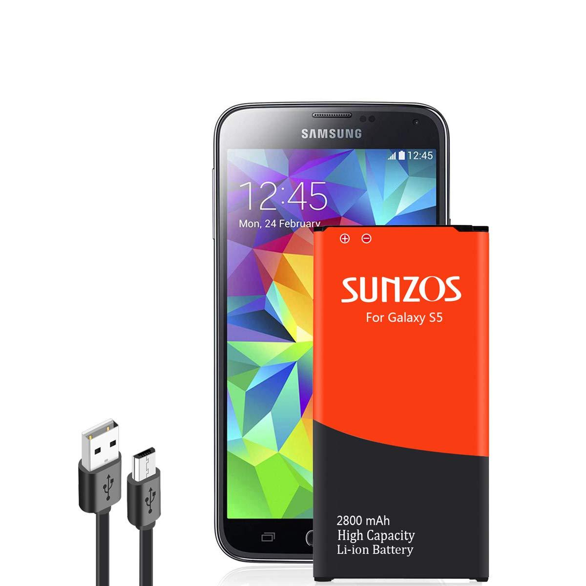 Glalaxy S5 batería, sunzos 2800 mAh batería para Samsung ...