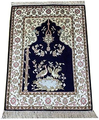 Yilong 1.5 x2 Small Persian Silk Rugs Handmade Oriental Carpet Mats Prayer Rug Dark Blue