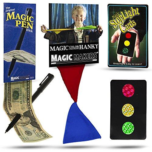Magic Makers Color Changing Hanky, Stop Light Cards and Magic Pen Trick - Magic Makers Original - Easy Pen Thru Dollar Bill Penetrating Trick Colour Changing Card Trick