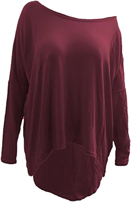 Ladies Women Plain Oversized Batwing Long Sleeve Baggy Hi Lo Jumper Top 8-26.
