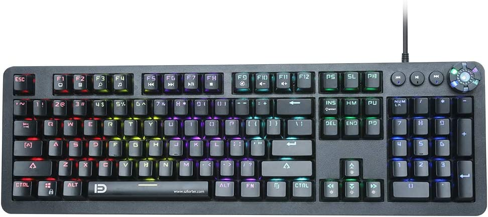 Mechanical Gaming Keyboard, LED Backlit USB Wired with Blue Switches Multi-Media Keys,104 Keys No Conflict, Black