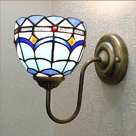 Yanqing Duurzame Tiffany Stijl Wandlamp Mediterraan Blauw Glas Smeedijzeren Verlichting Lamp Lengte 20 Cm Hoge 23 Cm Woonkamer Slaapkamer Studiekamer Restaurant Amazon Nl