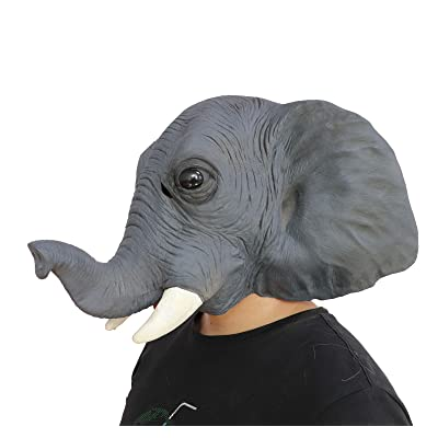 Ifkoo Deluxe Latex Elephant Mask Novelty Creepy Halloween Animal Head Mask Costume Party Decorations: Toys & Games