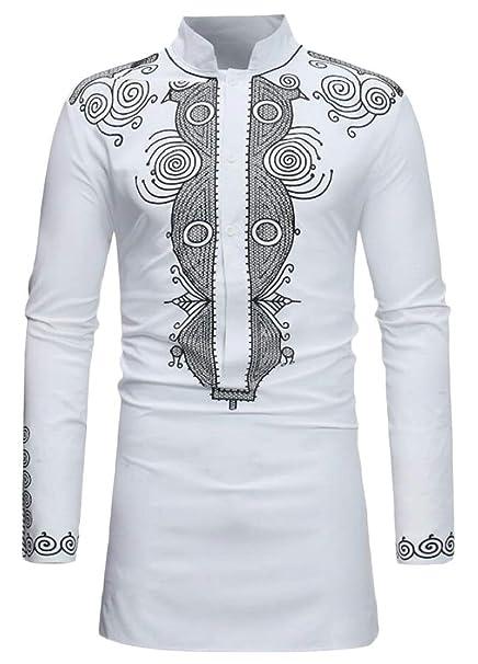 Keaac Mens Casual Dashiki Long Sleeve Button Down Shirt African Print Shirt