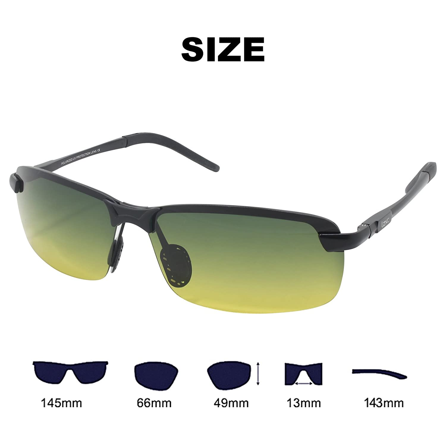 1c1bb43ea299 LZXC Men s Driving Polarized Sunglasses with Adjustable AL-MG Black Frame  Day and Night Vision Lens  Amazon.co.uk  Clothing