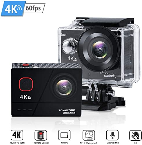Action Camera 4K 60fps 20MP WiFi Ultra HD 131ft Waterproof Underwater Camera with EIS 2.4G Remote Control 170 Wide Angle Sports Camera with 2 Batteries and Helmet Mounting Accessories Kits