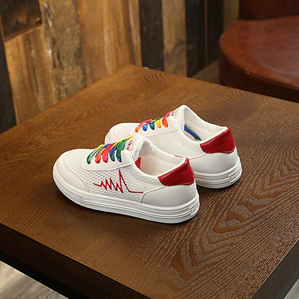 CLEEYYS Children Infant Kids Baby Boys Mesh Breathable Chromatic Shoelace Sport Shoes