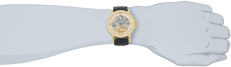 Akribos XXIV Men s AKR452YG Bravura Automatic Dual Time Skeleton Cream Dial Watch