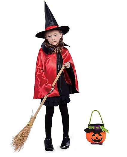 Shmily Girl Capa con Capucha Terciopelo Disfraz de Halloween para Mujeres Hombres Halloween Fiesta Disfraces Negro. (Niño, Sombrero + Capa + Bolsa de ...
