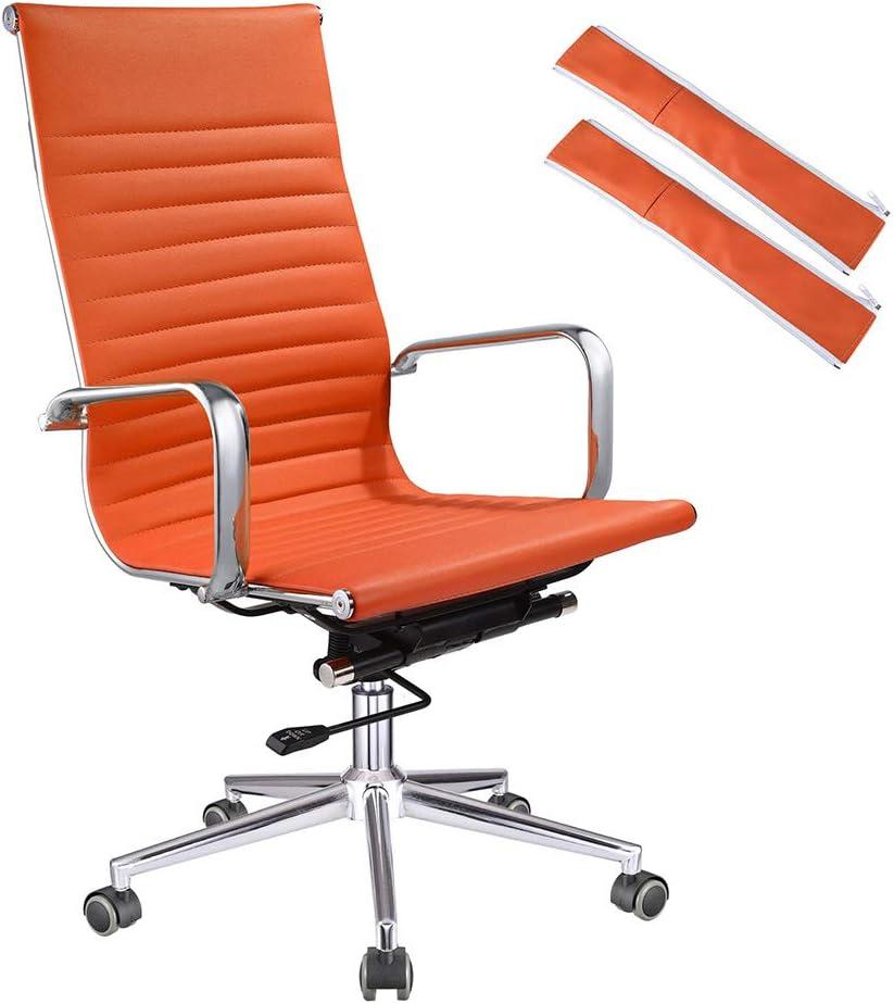 Amazon Com Yescom Executive High Back Ribbed Pu Leather Swivel Office Computer Chair Orange Xl Furniture Decor