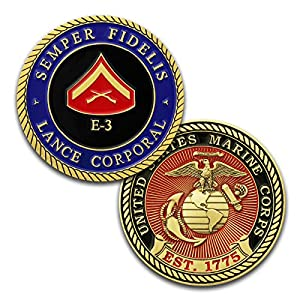 Marine Corps E3 Challenge Coin! USMC LCpl Rank Military Coin. Lance Corporal Challenge Coin! Designed by Marines For Marines - Officially Licensed Product! by Coins For Anything, Inc