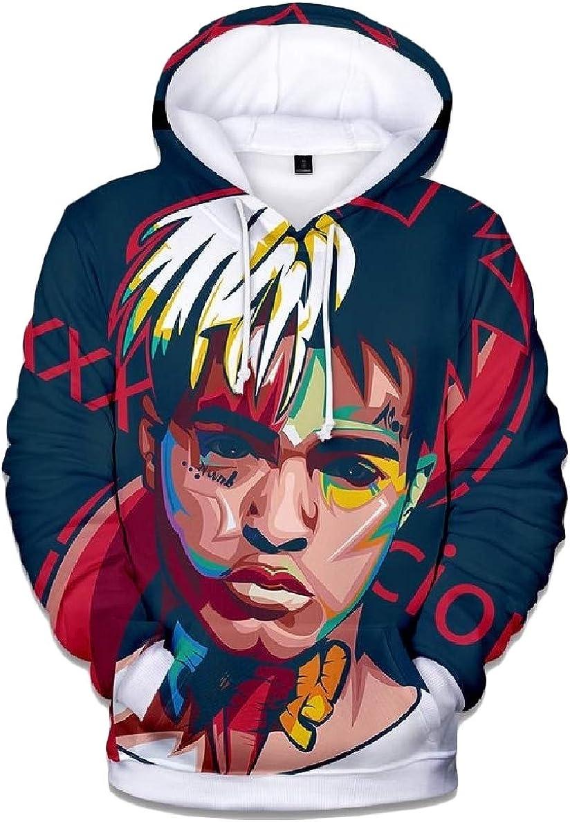 willwinMen WillingStart Men Print Hood Plus-Size Pocket Fashionable Long Sleeve Sweatshirts