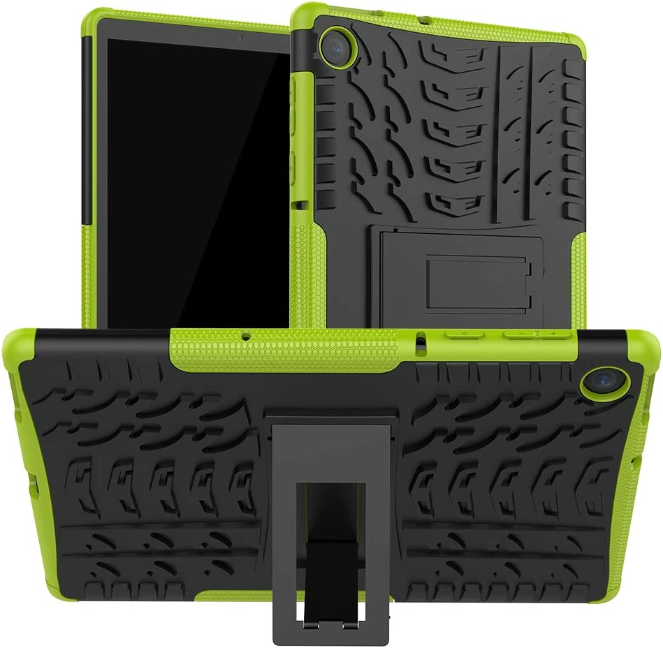 DETUOSI Shockproof Case Compatible with Lenovo Tab M10 FHD Plus 10.3 inch 2020 [2nd Gen] (TB-X606F/X), [Shock-Absorption] High Impact Resistant Heavy Duty Armor Defender Cover with Kickstand #Green