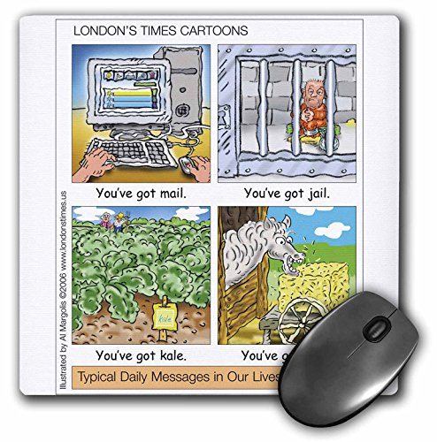 3dRose Londons Times Funny Silly Wordplay Cartoons - You ve Got Mail, Jail, Kale, and Bale - MousePad (mp_3434_1)