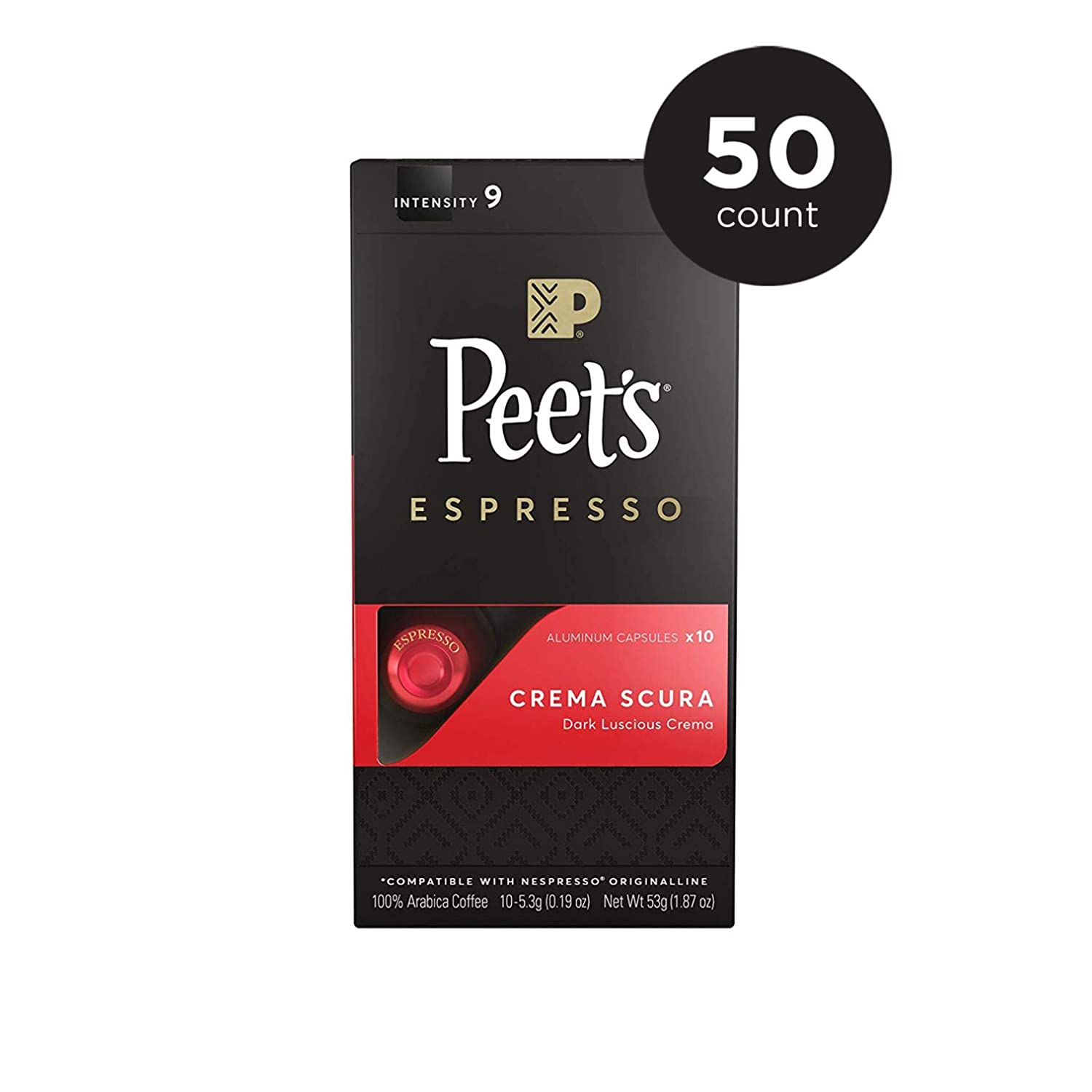 Peet's Coffee Espresso Capsules Crema Scura, Intensity 9, 50 Count Single Cup Coffee Pods Compatible with Nespresso Original Brewers