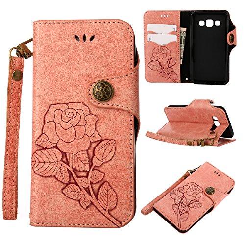 MEIRISHUN Leather Wallet Case Cover Carcasa Funda con Ranura de Tarjeta Cierre Magnético y función de soporte para Samsung Galaxy A3 - naranja Rosado