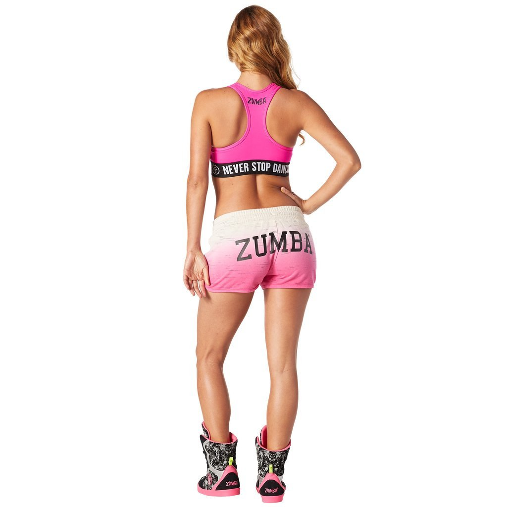 Zumba Fitness Womens When the Sun Goes Down Terry Shorts Pink Small
