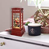 Eldnacele Christmas Snow Globe Lantern Phone Booth, Swirling Water Glittering Battery Operated Festicval Ornament with Timer for Christmas Tabletop Centerpiece Home Decoration