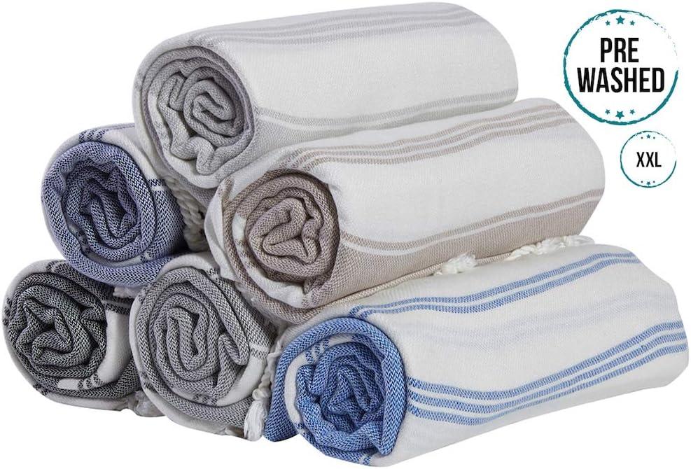 Bosphorus XXL Turkish Cotton Peshtemal Throw Fouta Blanket Set