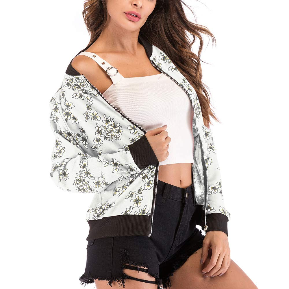 HHei_K Womens Trendy Lounge Slim Fit Floral Print Long Sleeve Zipper Up Loose Pockets Baseball Coat Jacket