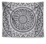 HAOCOO Mandala Tapestry,Bohemian Hippie Indian Wall Hanging Home Decor Wall Art for Dorm Apartment Bedroom Living Room (51 x 60 Inch, Gray Mandala)