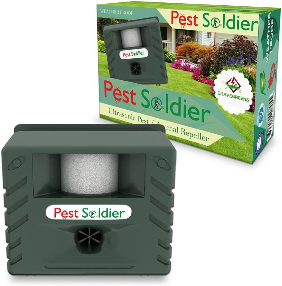 Pest Soldier 6-in-1 Sentinel, Outdoor Electronic Pest Animal Ultrasonic Repeller, with Ac Adaptor for Deer Raccoon Rabbits Birds