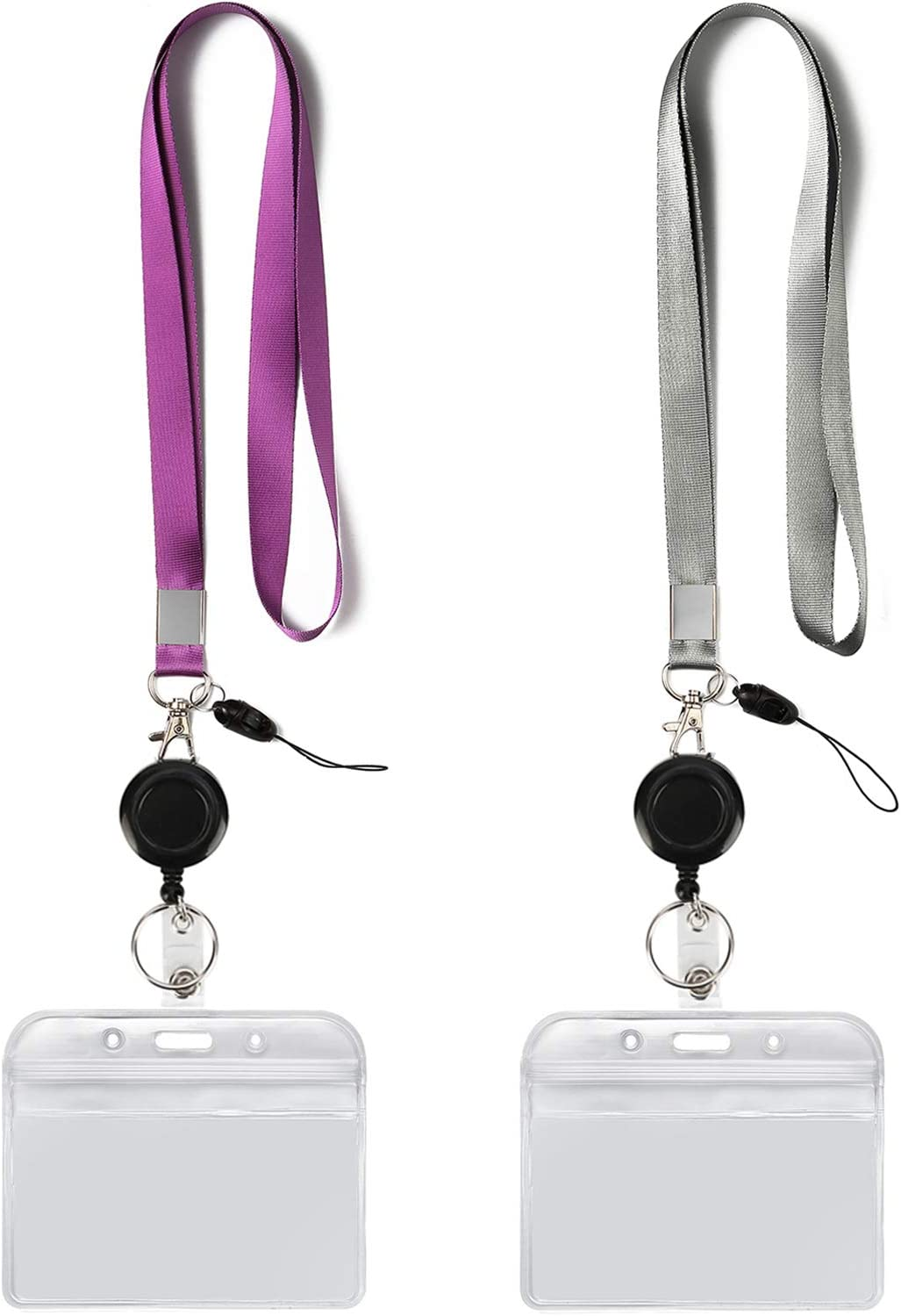 Black Hopeful Id Card Holders and Name Badges with Lanyard Neck Strap,Waterproof,Horizontal Flip for School Student,Teacher,Office Company Employee,Doctor Black Plastic Badge Holders
