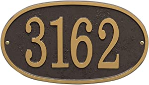 Whitehall Personalized Cast Metal Address Plaque - Custom House Number Sign - Oval (12