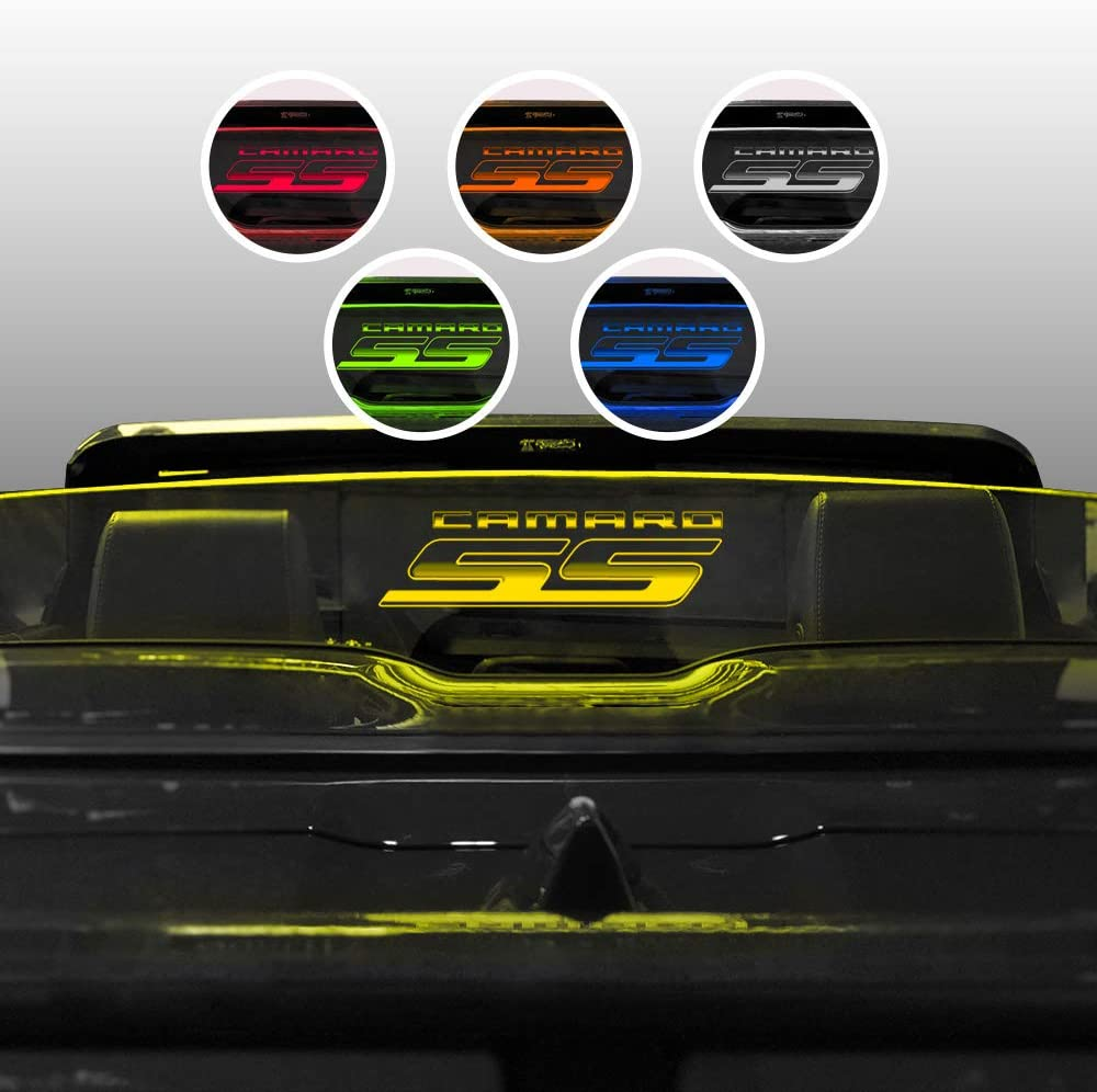 Windrestrictor Wind Deflector for 2016-2019 Chevrolet Camaro Six Convertible with Laser Etched Camaro SS Graphic Tinted Glass