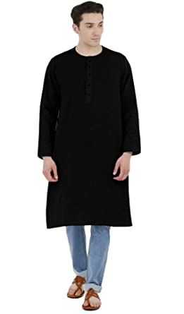 54c4ca12d SKAVIJ Mens Shirt Kurta Long Sleeve Casual Button Down Cotton Long Kurta  Dress (Medium,