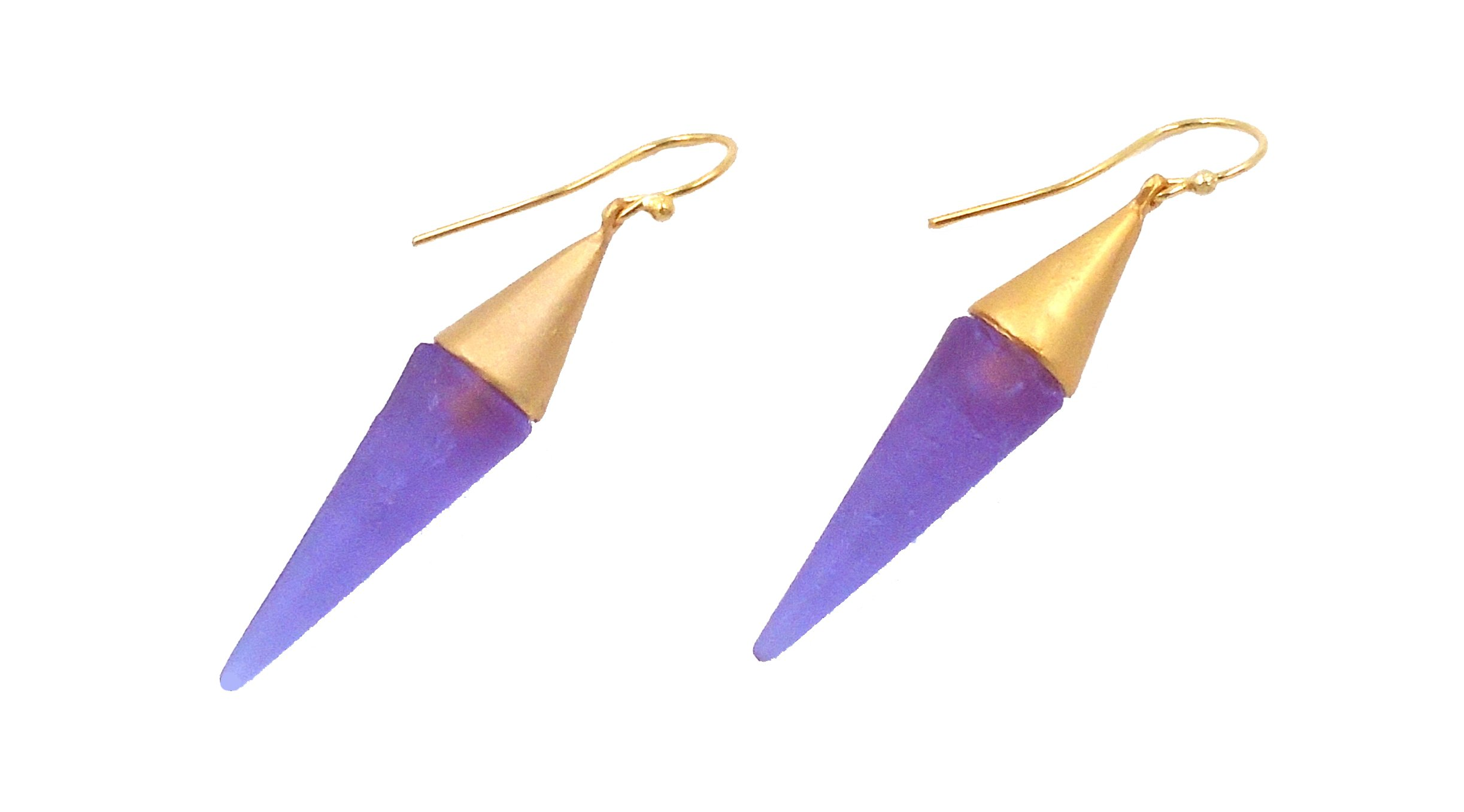Michael Vincent Michaud- Glass ''Large Spike Hanging Earring'' in Lt.Blue/Grey
