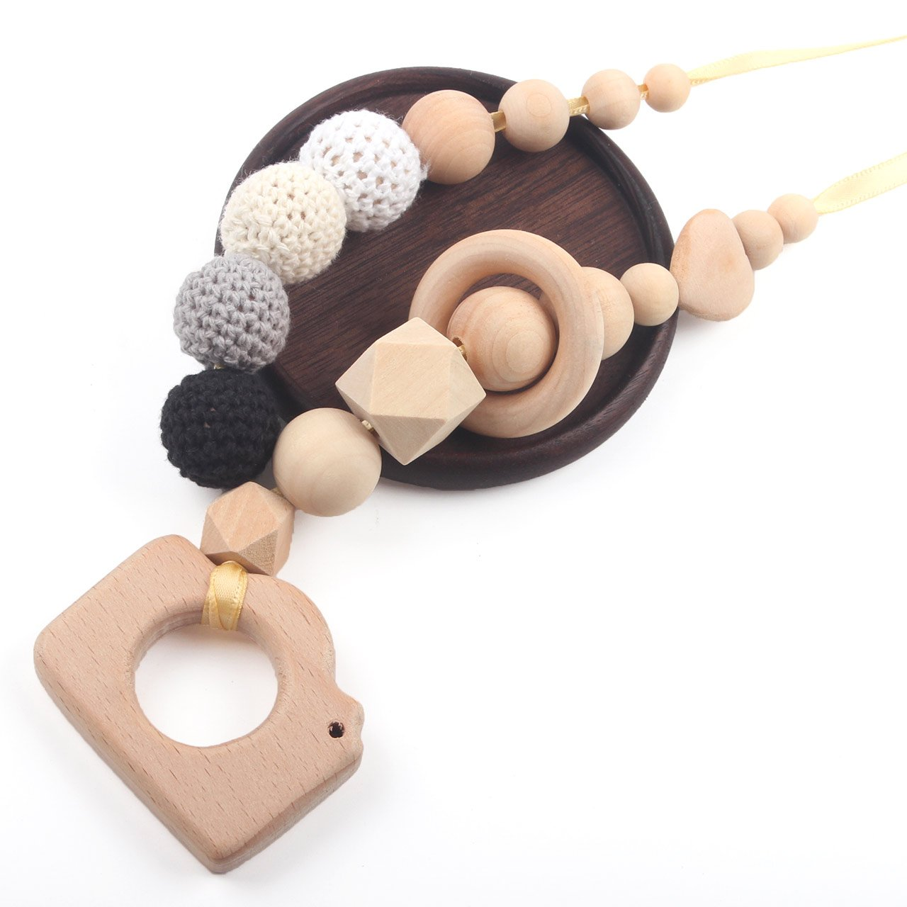 Teething Toys Infant Teether Baby Wooden Teether Necklaces Nursing Toy with Chew Beads BPA Free,Pink, Heart HI BABY MOMENT C-ANWO04