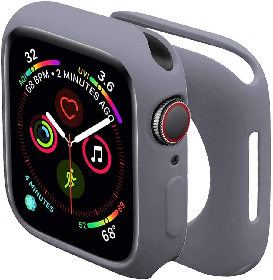 Sundo Compatible for Apple Watch Case Soft TPU Thin Lightweight Protective Bumper Cover Guard Accessories for Smartwatch(Light Grey,Series 6/5/4/SE 44mm)