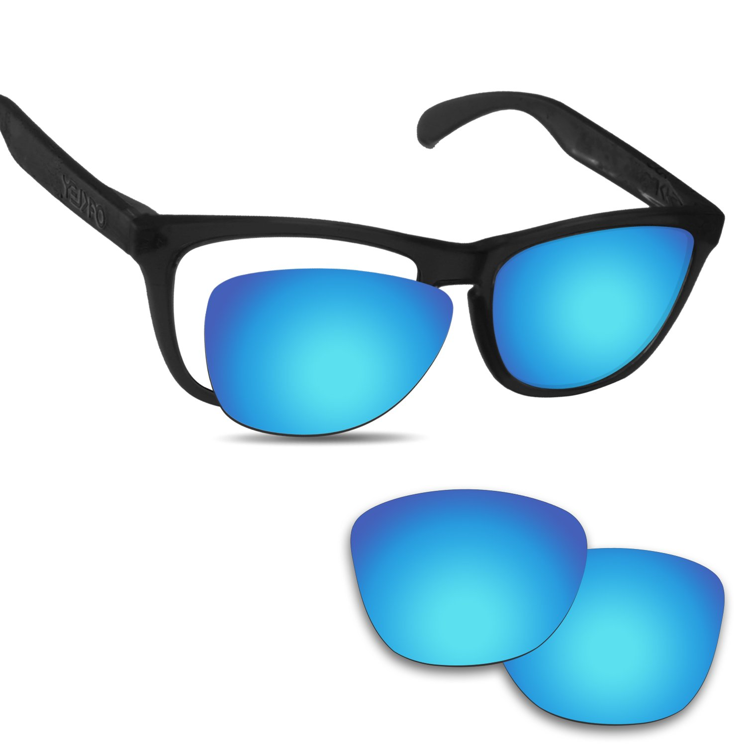 Fiskr Anti-saltwater Replacement Lenses for Oakley Frogskins Sunglasses - Various Colors (Ice Blue - Anti4s Mirror Polarized, 0) by Fiskr