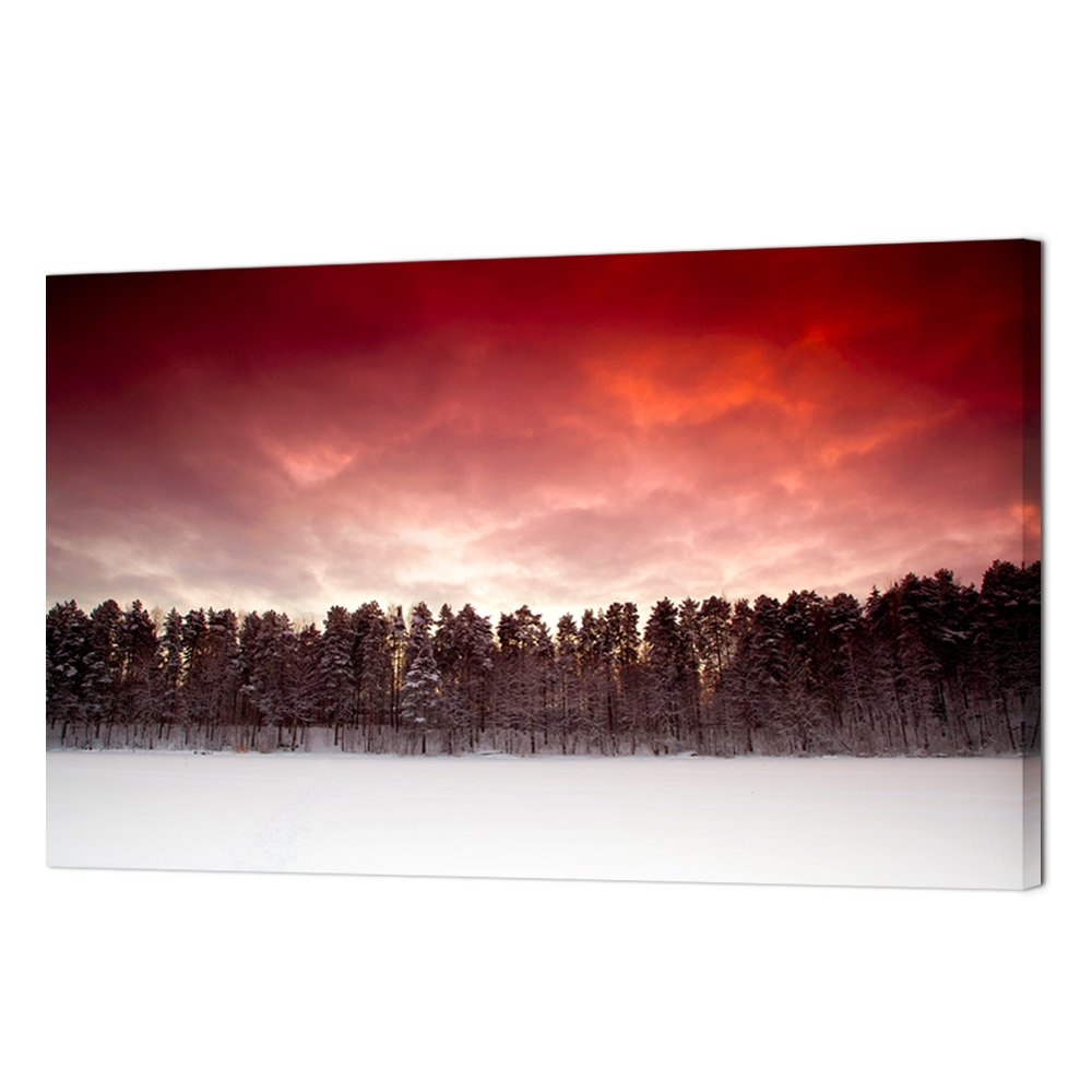 vvovv壁装飾Winter Forest Scenery Sunlight Charming Nature画像Prints Red Sky 1パネル、ホームデコレーション – ジークレー印刷ギャラリーラップ – 24