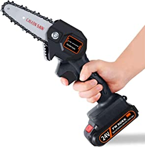 oceansEdge11 Mini Cordless Electric Chainsaw Pruning Saw for Garden Logging Wood Cutters,One Handheld 1.5Lb -24V /550W /4inch (Black)