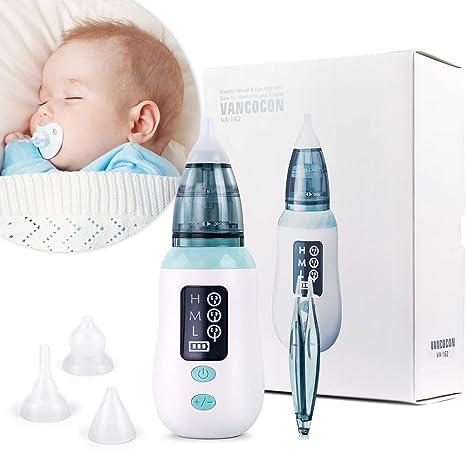 Aspirador nasal, limpiador de nariz de carga USB Ultpeak con 3 niveles de succión, removedor de cera del oído con 3 boquillas de lechón reutilizables para bebés y niños pequeños: Amazon.es: Bebé