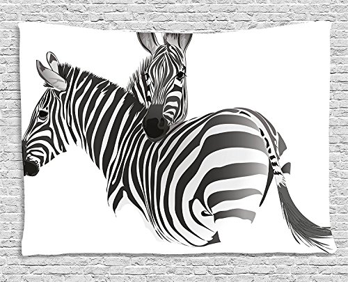 asddcdfdd Zebra Tapestry, African Animals Cute Couple Safari Theme Savannah Jungle Camouflage Exotic, Wall Hanging for Bedroom Living Room Dorm, 80 W X 60 L Inches, Charcoal Grey White by asddcdfdd