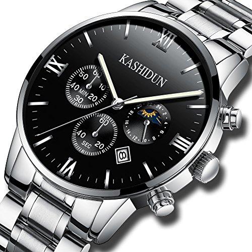 (KASHIDUN Men's Watches Luxury Sports Casual Dress Quartz Wristwatches Waterproof Chronograph Calendar Date ZH (Silver Black))