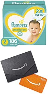 Diapers Size 2, 186 Count (2) - Pampers Swaddlers Disposable Baby Diapers, One Month Supply and $20 Gift Card