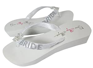Customized Bride Vintage Lace Rhinestone Wedge Flip Flops White 1.25 inch choose sparkle color