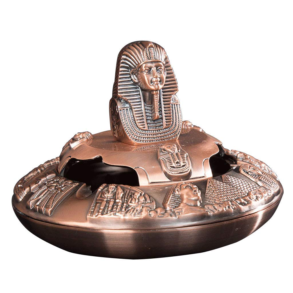 Uptoyou Vintage Egyptian Pharaoh Cigarette Ashtray Portable Ashtray with Lid (Red Copper)