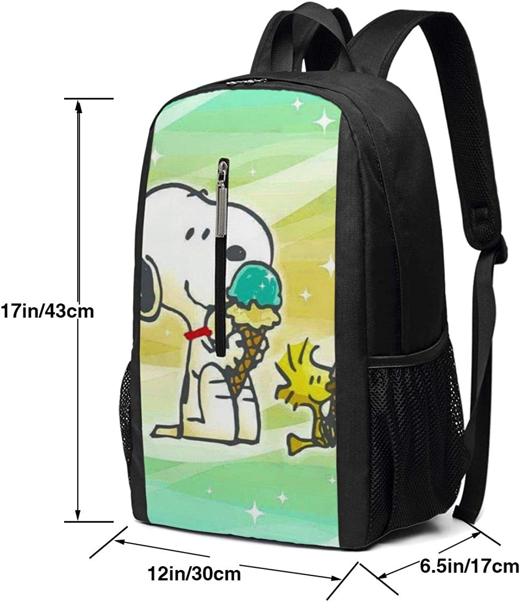 Backpack 17 Inch Snoopy With Ice Cream Large Laptop Bag Travel Hiking Daypack For Men Women School Work