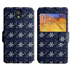 AADes Scratchproof PU Leather Flip Stand Case Samsung Galaxy Note 3 III ( Blue Flowers )