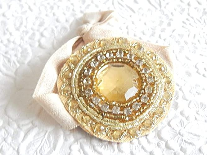 Amazon.com  Gold Round Embellished Hair Tie Ponytail Holder by Embellished  Life Designs  Handmade 40bdf170838
